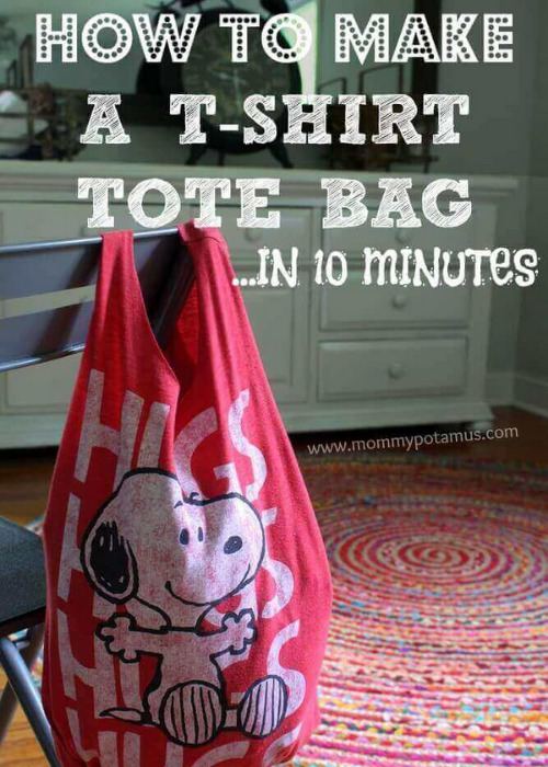 15 Ways to Upcycle and Restyle T-Shirts- If you have some old shirts you love but don't wear anymore, give them a second life with these fun ways to upcycle and restyle T-shirts!   repurpose shirts, DIY projects using shirts, dog toy made out of a shirt, shirt rag rug, shirt restyle ideas #DIY #upcycling #restyleTShirts #repurposing #ACultivatedNest
