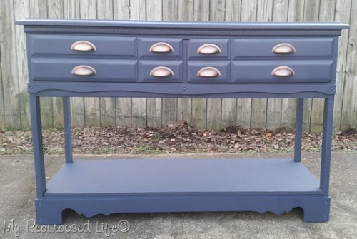 Hall Table Dresser Upcycle DIY- If you have an old dresser, it could be turned into something new, useful, and beautiful! For inspiration, check out these 12 clever ways to repurpose an old dresser! | DIY furniture makeover, upcycle a dresser, #repurpose #upcycle #furniture #DIYProject #ACultivatedNest