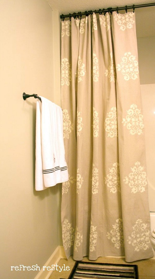 diy stenciled drop cloth shower curtain