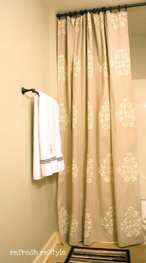 Diy Stenciled Drop Cloth Shower Curtain