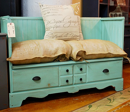 Repurposed Dresser To Bench- If you have an old dresser, it could be turned into something new, useful, and beautiful! For inspiration, check out these 12 clever ways to repurpose an old dresser! | DIY furniture makeover, upcycle a dresser, #repurpose #upcycle #furniture #DIYProject #ACultivatedNest