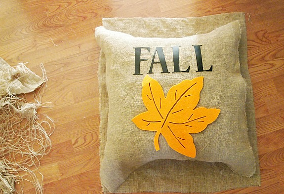 materials used to make a spray painted burlap fall pillow