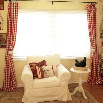 My New Red Buffalo Check Living Room Curtains!