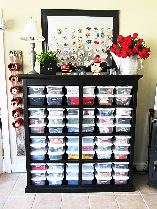 Upcycled Dresser: Craft Supply Shelf- If you have an old dresser, it could be turned into something new, useful, and beautiful! For inspiration, check out these 12 clever ways to repurpose an old dresser! | DIY furniture makeover, upcycle a dresser, #repurpose #upcycle #furniture #DIYProject #ACultivatedNest