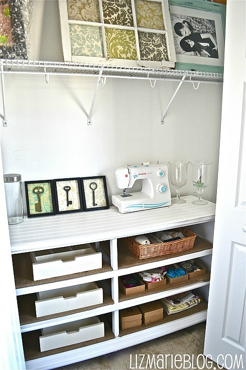 repurposed dresser as office storage