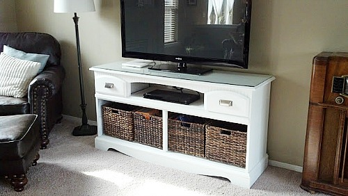 TV Cabinet Dresser Upcycle- If you have an old dresser, it could be turned into something new, useful, and beautiful! For inspiration, check out these 12 clever ways to repurpose an old dresser! | DIY furniture makeover, upcycle a dresser, #repurpose #upcycle #furniture #DIYProject #ACultivatedNest