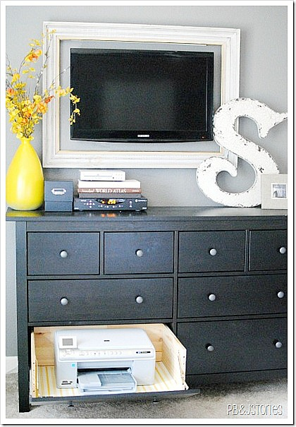 Hide Away Printer Repurposed Dresser- If you have an old dresser, it could be turned into something new, useful, and beautiful! For inspiration, check out these 12 clever ways to repurpose an old dresser! | DIY furniture makeover, upcycle a dresser, #repurpose #upcycle #furniture #DIYProject #ACultivatedNest