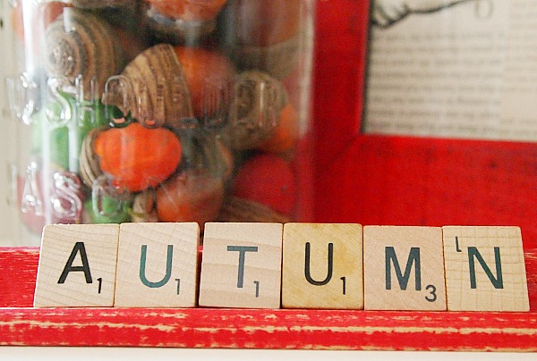Easy fall decorating idea - scrabble letters that spell autumn