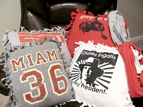 Repurposed t-shirts made into pillows - How To Repurpose Old T-Shirts
