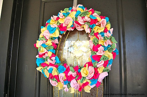 Repurposed t-shirts made into a wreath - How To Repurpose Old T-Shirts
