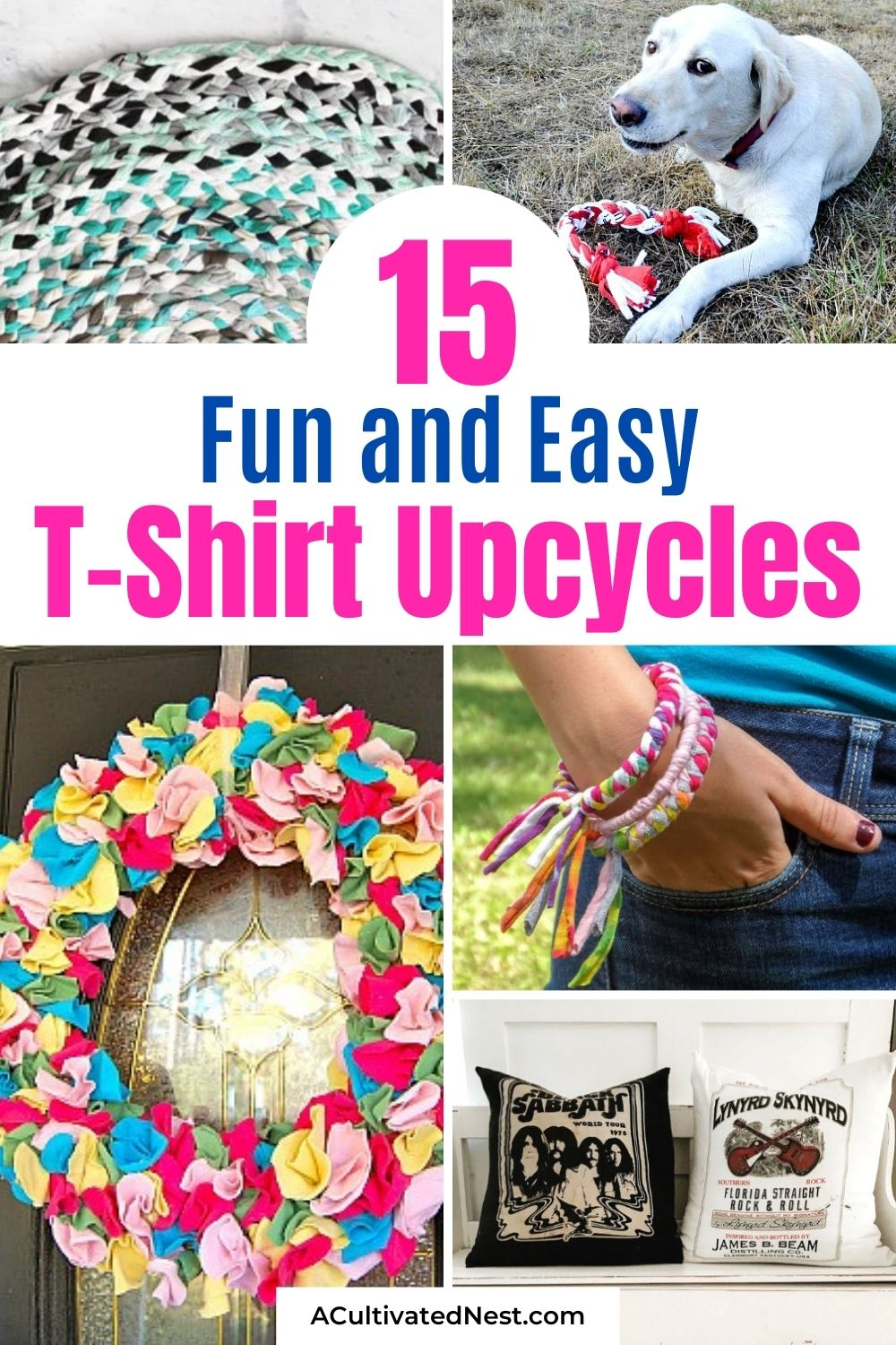15 Ways to Repurpose or Restyle T-Shirts- Looking for ways to use old t-shirts that you've been holding on to but don't wear anymore? Here are 15 ways to repurpose T-shirts!   upcycling T-shirts, recycle T-shirts, old T-shirt restyles #upcycling #repurpose #restyleShirt #diyProject #ACultivatednest