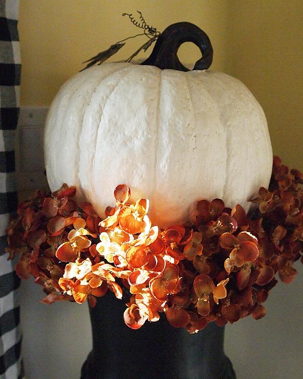 white pumpkin and hydrangeas