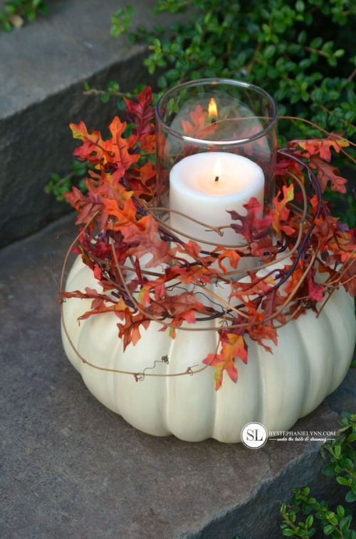 Simple & Pretty Candle Displays for Thanksgiving- Make your Thanksgiving table or buffet more festive on a budget with these 15 gorgeous DIY Thanksgiving candle display ideas! | #Thanksgiving #diyCandles #DIY #ThanksgivingCrafts #ACultivatedNest