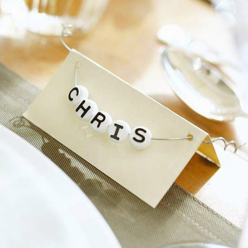 alphabet beaded name place cards
