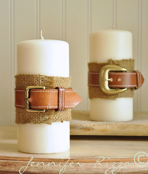 Ideas for repurposing old belts - Cute belted candle