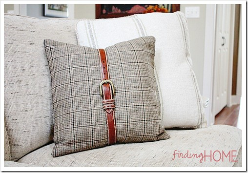 Ideas for repurposing old belts - belted pillow
