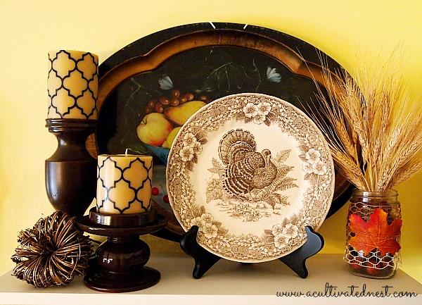 brown transferware turkey plate