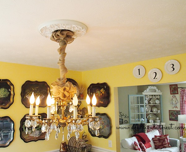 burlap ribbon chandelier chain cover