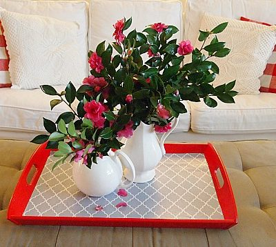 a simple pleasure fresh cut camellias on a tray