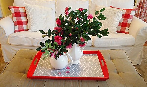 camellias on a diy mod podge tray