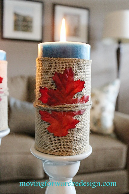 wrap a candle with burlap - Thanksgiving candle display ideas