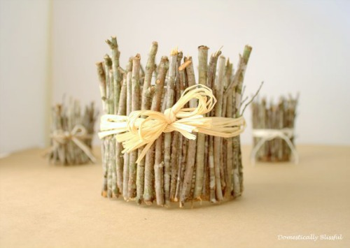 wrap a candle with sticks - candle display ideas