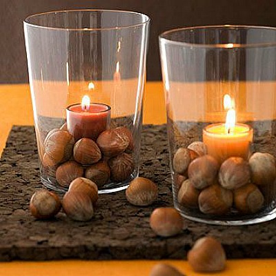 surround votives with real or fake acorns