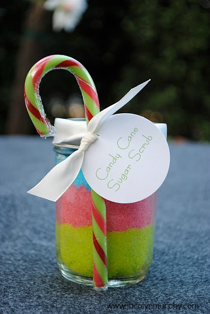 candy cane colored sugar scrub