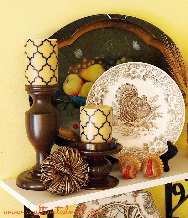 decorating with brown transferware dishes for Thanksgiving