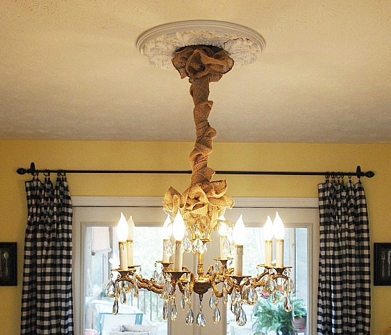 dining room chandelier with burlap chain cover