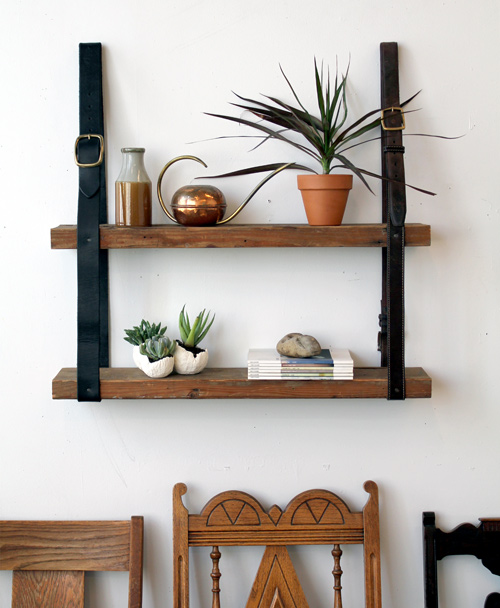 Ideas for repurposing old belts - diy recycled belt and wood shelf