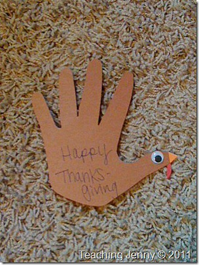 Turkey hand-print-place-card