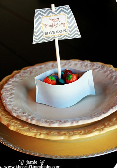 mini Mayflower place card