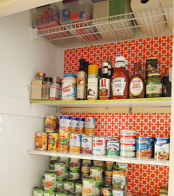 pantry shelves edged with washi tape