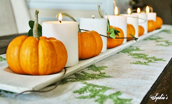 Easy pumpkin and candle centerpiece for Thanksgiving