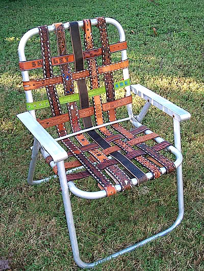 Ideas for repurposing old belts - repurposed belt into webbing for a lawn chair
