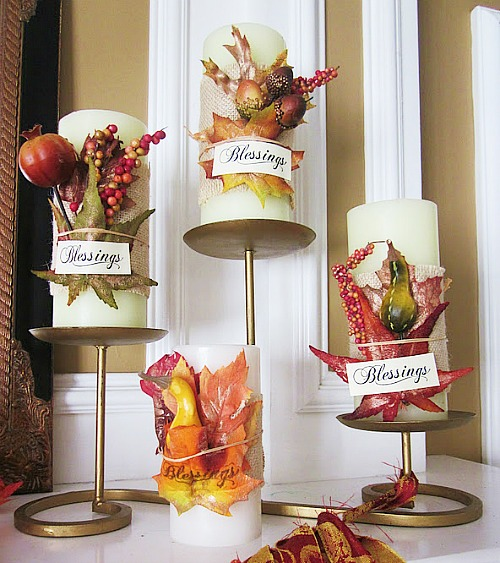 rustic Thanksgiving candle wraps