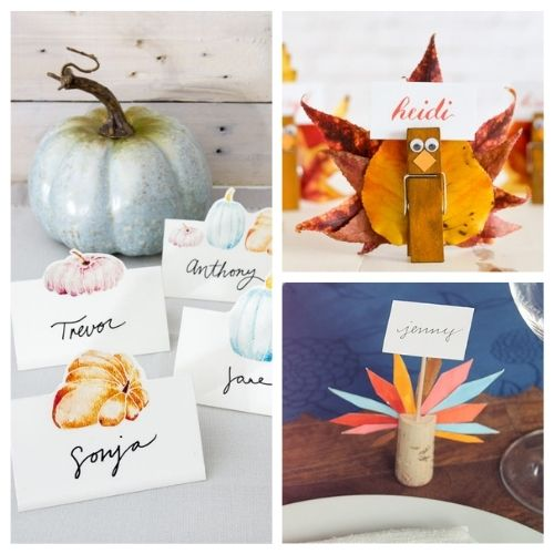 10 Easy DIY Ideas for Thanksgiving Place Cards- Make your Thanksgiving dinner table look goregous with these DIY Thanksgiving place card ideas! | #placeCards #ThanksgivingCrafts #crafts #Thanksgiving #ACultivatedNest
