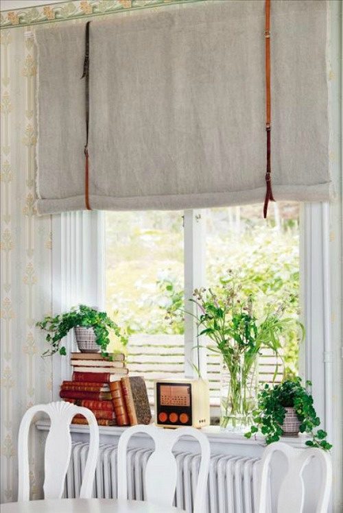 Ideas for repurposing old belts - window treatment with belts