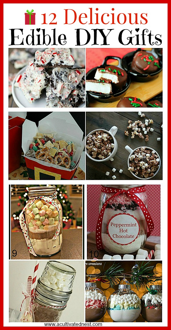 12 Delicious Homemade Edible Christmas Gifts- If you're looking for something different to give for Christmas this year, you couldn't go wrong with a food gift! These homemade edible Christmas gifts are easy and quick to make, and taste delicious! | diy gift, handmade gift, homemade gift ideas, desserts, recipes, #Christmas #diyGift #ACultivatedNest