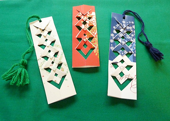 bookmarks made from old Christmas Cards