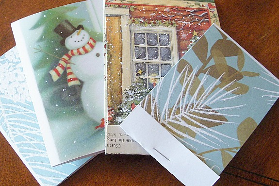 repurpose Christmas cards into notepads