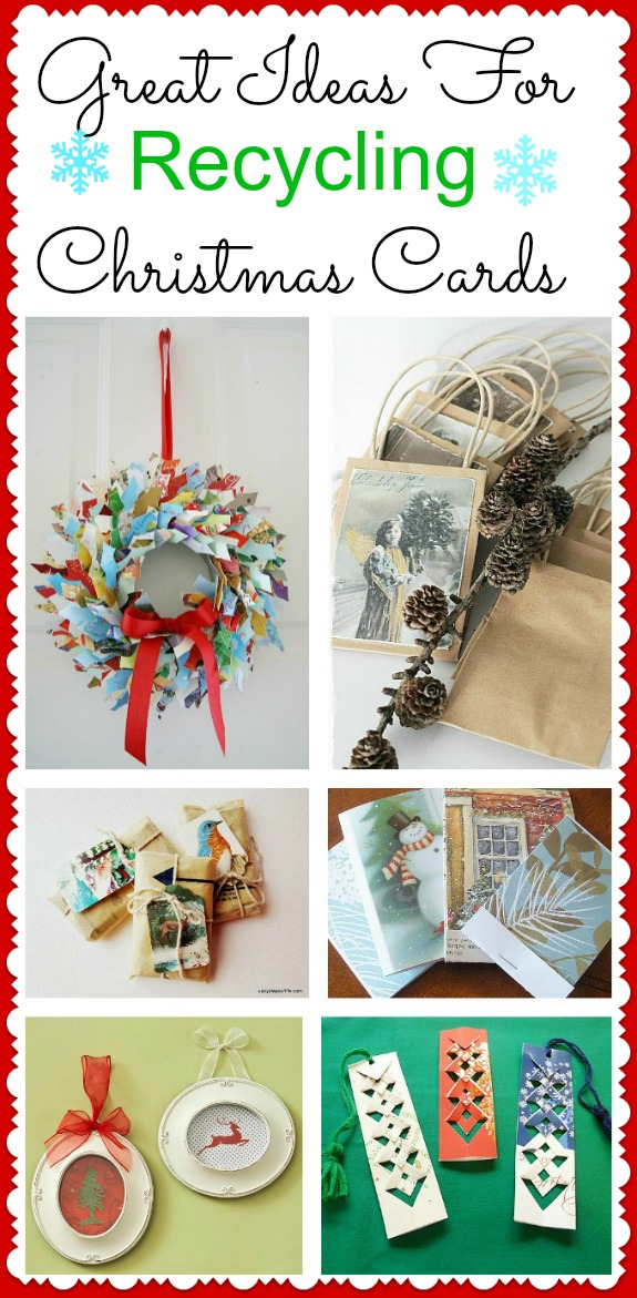 How to Reuse & Upcycle Old Christmas Cards. Awesome ideas! Here's a few Christmas cards repurposed into home decor like wreaths and wall art, gift bags and even bookmarks! #christmascrafts #upcycle #repurpose #christmascards