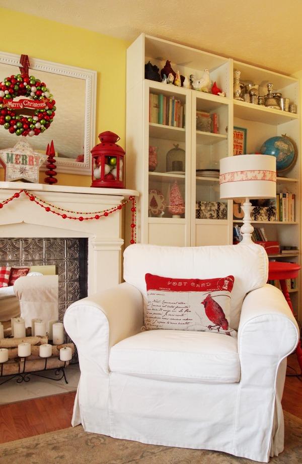 White Ektrop chair and Christmas pillow