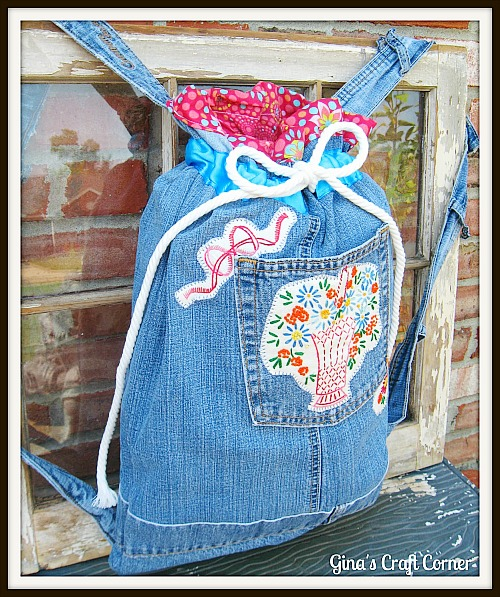 upcycled jeans made into a backpack