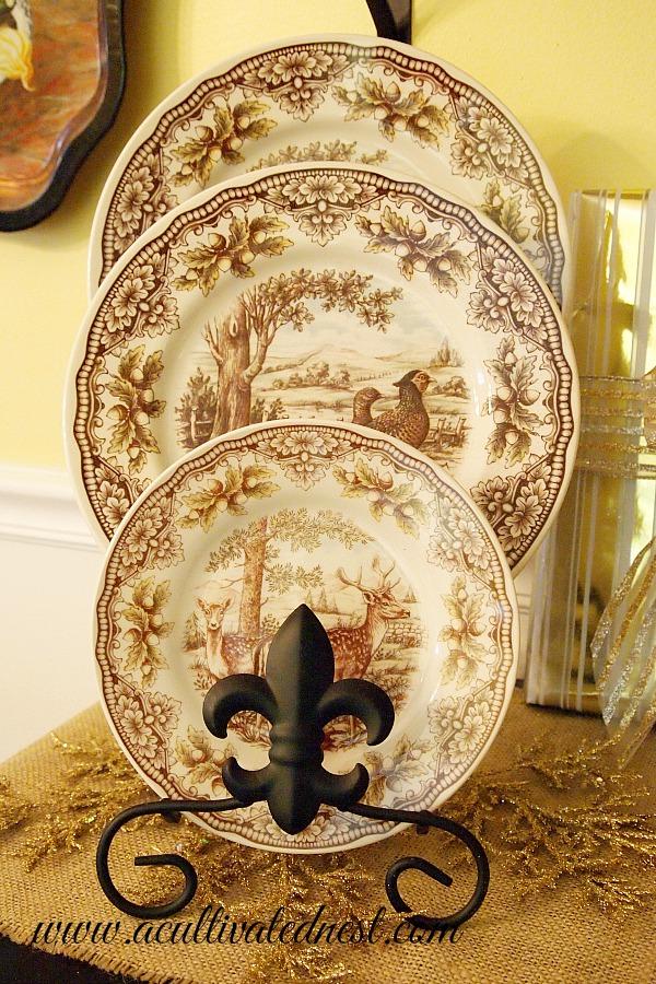 brown transferware plates