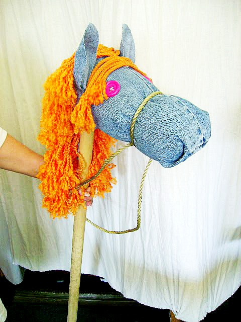 a stick horse made from old jeans