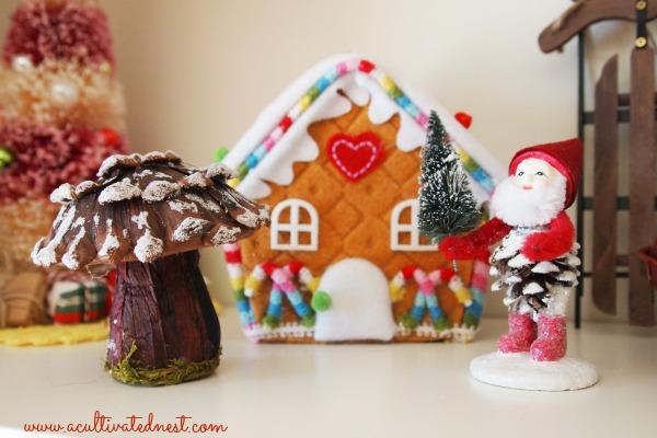 ginger bread house and mushroom tree