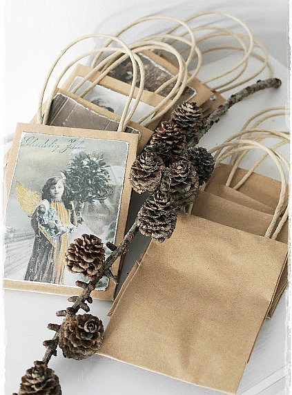 Add old Christmas cards to plain bags to make one of a kind gift bags