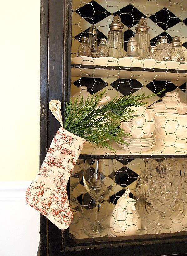 mini toile Christmas stocking